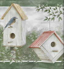 Country Birdhouses w/ Birds with Sage Green Trim WALLPAPER BORDER