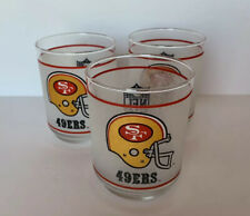 Vintage NFL San Francisco 49ers Mobil Oil Promo Drinking Glass 4inch 1980s