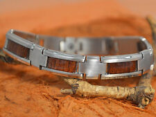 "Koa Wood Bracelet -Stainless Steel-8"" 10.5MM-Men's Jewelry,Groom,Dad,Son,Brother"