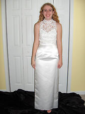 MICHELANGELO DAVID'S  BRIDAL FORMAL WEDDING GOWN WHITE 6 DRESS WHITE ROSES BEACH