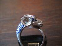 ausgefallener vintage Ring vollplastisch Widder 925er Silber blaues Emaille