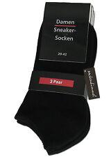 12 Damen Sneaker Socken Füsslinge Sneakers in schwarz Baumwolle & Elasthan 35/38