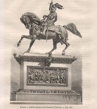 1865 Torino, Statua equestre a Emanuele Filiberto xilografia