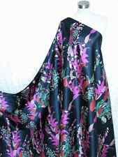100% Silk Charmeuse Fabric Navy Purple Flower Per Yard