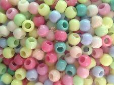 20 perle foro largo plastica palline pastello, 0,8x0,9 cm, foro 4 mm bigiotteria
