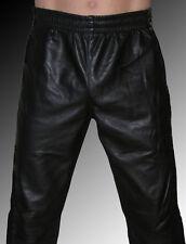 Leder Jogginghose Leder Trainingshose Sporthose Lederhose schwarz leather cuir