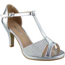 Womens Peeptoe Sandals HEELS Ladies Wedding Bridesmaid Bridal Party Shoes Sizes Silver UK 5 / EU 38 / US 7