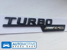 2 x Mercedes AMG Turbo Gloss Black Wing Badges - A C E S GL CLA Class