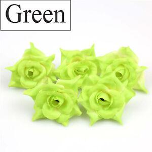 "100X DIY 2"" Artificial Fake Rose Silk Flower Head Bulk Wedding Home Garde Decor"