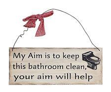 "Bathroom Aim Wood Decorative Plaque 10""x 4"" Wall Decor Sign"