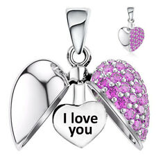 I Love You Charm Pink Crystal Heart Sterling Silver Gift Mum Nan Wife Daughter