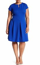 Sandra Darren Woman's Plus Size 22W Royal Blue Short Sleev Fit & Flare Dress NWT