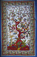 WHITE & BLUE 100% cotton TREE OF LIFE throw dorm sofa bed chair cover bedspread