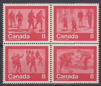 """CANADA #644-647 8¢ """"Keep Fit"""" Winter Sports Block of Four MNH - A"""