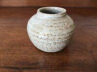 "Studio Pottery small round stoneware pot - natural coloured glaze - 2.5"" tall"