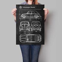 Volkswagen Beetle Car Poster Retro Patent Blueprint Art Print