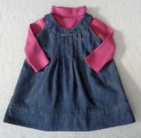 MONSOON Baby Girls Pinafore Dress & Long Sleeve Jumper Top Outfit Set 3-6months