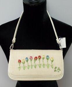 ESTATE SALE!EUC LULU GUINNESS Cream Embroidered Tulip Mirror Bag Clutch