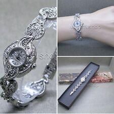 Silver Marcasite Watch Women Japan Quartz Brass Bracelet Stainless Steel back 15