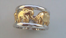 BAGUE   EN OR BLANC et jaune 10k  (GOLD FIlLeD ).  MOTIF elephant.