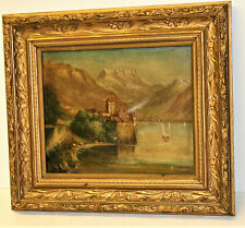 Antique Victorian Oil on Canvas  Painting Stamped Winsor & Newton Gilded Frame
