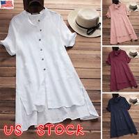 US Women long Sleeve Baggy Cotton Linen Casual Shirt Plain Tops Blouse Plus Size
