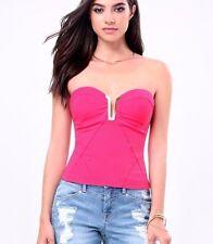 NWT bebe hot pink strapless deep v neck embellished bustier dress top M medium