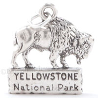 AMERICAN BISON Native 925 charm YELLOWSTONE PARK Buffalo Pendant STERLING SILVER