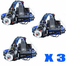 3X 21000LM LED Headlamp Rechargeable Headlight CREE XML T6 Head Torch light lamp