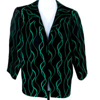 Misook Black Green Cocktail Jacket Blazer Brocade Womens Size M