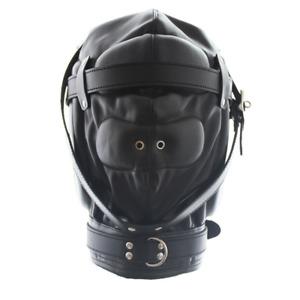 Soft Leather Gimp Bondage Hood Sensory Deprivation Mask Blindfold Breathable CN