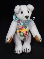 "World of Miniature Bears 2.5"" Velvet Birthday Bear Pin March #589P Collectible"