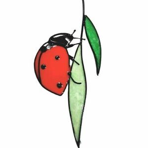 Stained Glass Ladybug Home Decoration 22x10cm Metal Window Wall Hanging Ornament