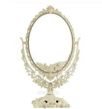 Vintage 2-Sided Oval Freestanding Makeup Vanity Dresser Mirror *Ivory* s72v