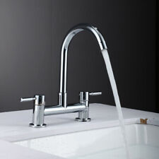 Modern Dual Lever Chrome Kitchen Sink Mixer Taps 2 Hole Deck Mounted Tap Faucet