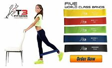 5pc Resistance Exercise Loop Bands Home Gym Fitness Set Premium With Storage Bag