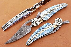 CUSTOM HAND MADE DAMASCUS STEEL LEAF  FOLDING POCKET KNIFE WITH BLUE RESIN