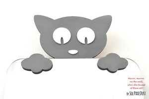Safety Mirror Kitten Gray with LED light- Wall Decor Mirror - Nursery Kid Mirror