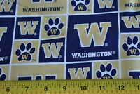 By 1/2 Yd, University of Washington Dawgs Cotton Quilt Fabric, Navy & Gold N1801