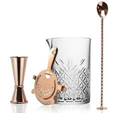 4 Piece Copper Cocktail Mixing Set - Pitcher Copper Strainer Jigger Mixing Spoon