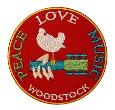Woodstock Festival Peace Love & Music Dove Embroidered Iron On Applique Patch