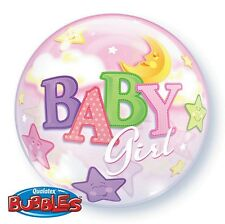 """5 PACK Qualatex 22"""" Stretchy ROUND Bubble Balloon BABY GIRL SHOWER, BIRTHDAY!"""
