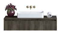 Contemporary Wall Mount Floating Bathroom Vanity Sink Set - Walnut - 36 Inch