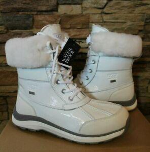 NIB UGG Women's Adirondack III Patent Leather Winter Waterproof Boots White