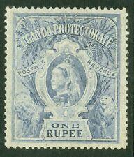 SG 90 Uganda 1r dull blue. Very lightly mounted mint CAT £55