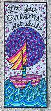 SEArts Dreams Set Sail Hand Embellished Print Boat Moon Waves Bookmark Wall Art
