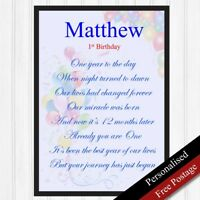 1st Birthday Boys Personalised Gift. First Birthday Keepsake Baby Boy PRINT ONLY