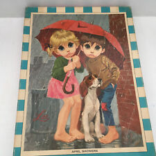 vintage Lee big sad eye kids  girl boy dog April showers rain  tykes puzzle art