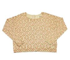 NUMPH ANTHROPOLOGIE CREAM COTTON BUTTON SWEATER PINK GOLD TRIANGLE PRINT Sz S