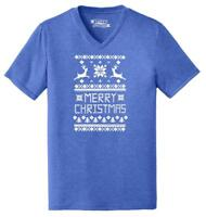 Mens Merry Christmas Ugly Sweater Xmas Tee Triblend V-Neck Reindeer